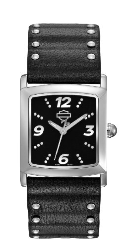 Harley-Davidson® Women's Black Pattern Dial Watch. Luminous Hands. Curved Crystal. Black Leather Strap. 76L162