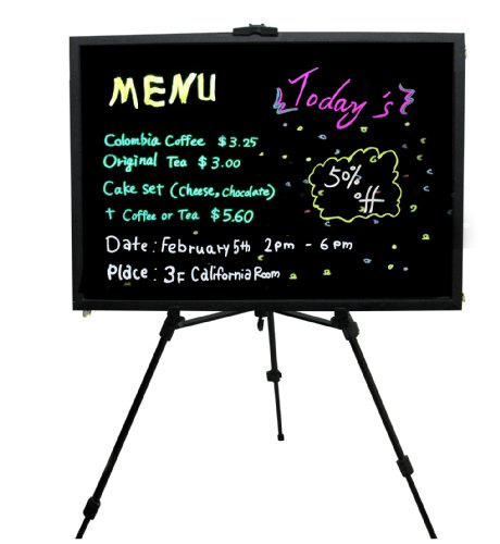 LED Fluorescent Handwriting Menu Sign Display Board Includes Display Easels Tripod and Markers Pens
