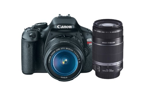 Canon EOS Rebel T3i 18 MP CMOS APS-C Sensor DIGIC 4 Image Processor Digital SLR Camera with EF-S 18-55mm f/3.5-5.6 IS Lens + Canon EF-S 55-250mm f/4.0-5.6 IS Telephoto Zoom Lens (OLD MODEL)