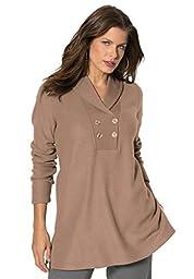Roamans Women\'s Plus Size Double Button Sherpa Fleece Tunic Brown Sugar,3X