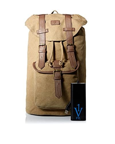 1 Voice Men's Mapmaker FYL Back Pack with Built-In Battery Charger, Brown