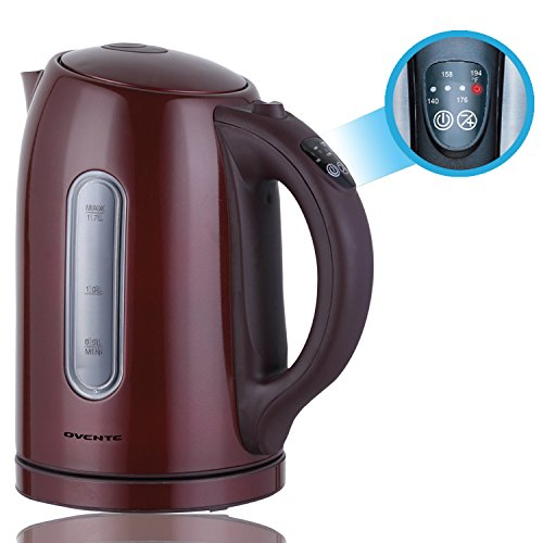 Best Price Ovente KS89BR Temperature Control 1.7L Stainless Steel Electric Kettle with Keep Warm Fun...