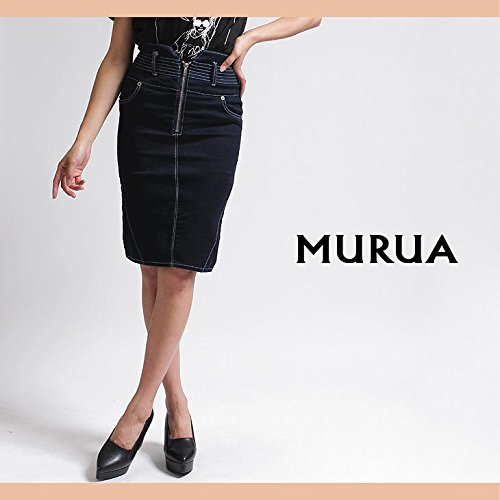 【MURUA(ムルーア)】ZIP切替タイトスカート Mサイズブルー(50)