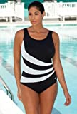 Aquabelle Chlorine Resistant! Black and White Plus Size Spliced Swimsuit Plus Size Swimwear thumbnail