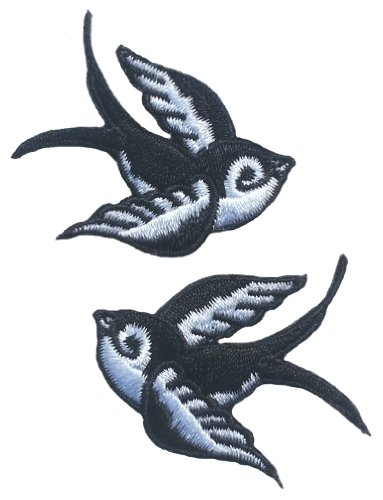 swallow-embroidered-black-white-patches-pack-of-2-42cm-x-4cm-each