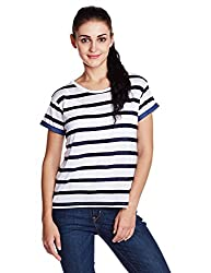 Lee Women's Body Blouse Top (L1852214HX0Y00L_White and Navy_L)