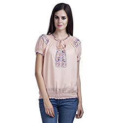 MansiCollections Women's Causal Embroidred Peach Top (XX-Large)