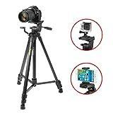iKross IKHD40 - Trípode para cámaras réflex y compactas, smartphone, tablet y más 155 cm, color negro