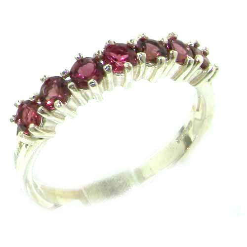 High Quality Solid Hallmarked White Gold Natural Pink Tourmaline Eternity Ring - Size 12 - Finger Sizes 5 to 12 Available - Suitable as an Anniversary ring, Engagement ring, Eternity ring, or Promise ring