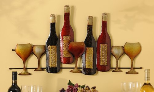 Wall Pediments: Giftcraft Metal Wine Bottles/Glasses Wall Decoration