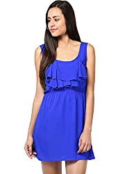 Grain Dark Blue Polyester A-line Short dress for women