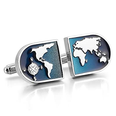 Men's Rhodium Plated Cufflinks Silver Blue World Map Shirt Wedding (with Gift Bag)