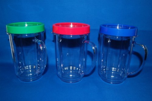 3X Set Lot Of Magic Bullet Party Mugs Cups W Colored Lip Ring Genuine Original Home & Kitchen front-496421