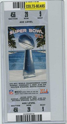 02/04/2007 Super Bowl Xli Full Game Ticket Colts (Indianapolis) 400 Level (Silver $600) - Versus Bears