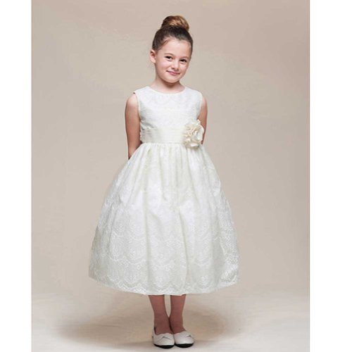 Crayon Kids Girls 7/8 Ivory Lace Overlay Flower Girl Easter Dress front-709983