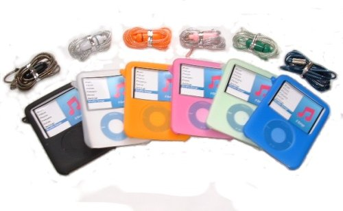 KMS - SET OF 6 SILICONE 3G SKINS CASES & COLOR HAND STRAPS FOR NEW APPLE iPOD NANO 3G 3RD GENERATION (BLACK, BLUE, WHITE, PINK, ORANGE AND NEW GREEN) BRAND NEW BOX SET