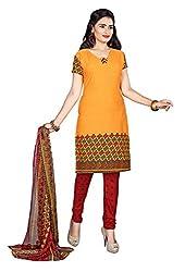Jiya Presents Crepe Dress Material (Dark Yellow,Red)