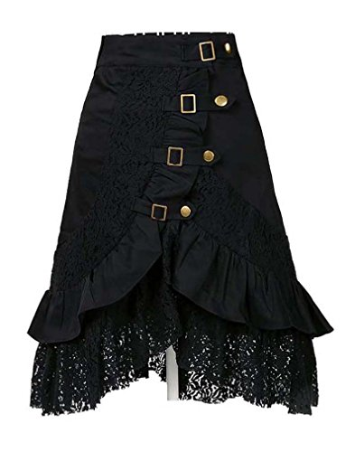 [Charmian Women's Plus Size Steampunk Goth Vintage Victorian Gypsy Hippie Lace Party Skirt Black] (Steampunk Pirate)