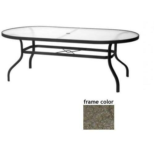 Sterling 42 X 84 Inch Aluminum Oval Dining Table - Aluminum Plank-wood Pattern With Scavo Bronze Frame