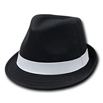 DECKY Basic Poly Woven Fedora Hats (BLACK / WHITE, S / M) at Amazon