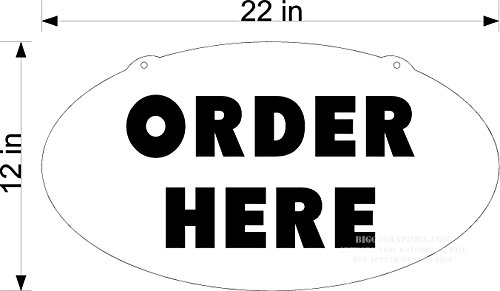 TAKE OUT RESTAURANT ORDER HERE SIGN BLACK ON WHITE OVAL PLEXIGGLASS (Restaurant Order Sign compare prices)