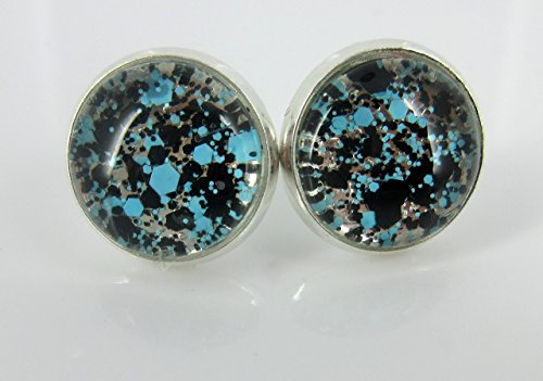 silver-tone-aqua-blue-and-black-glitter-glass-stud-earrings-1-2-round