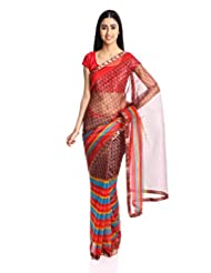 Satrang Net Saree With Blouse Piece