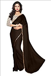KRIZEL Coffee Nazneen Saree With Embroidery Blouse