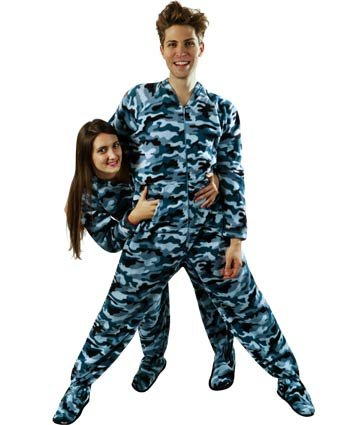 PajamaCity Blue Camo Print Adult Footed Fleece Pajamas for Men and Women