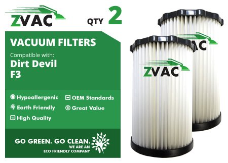 Dirt Devil F3 Washable Hepa Filters - 2 Pack - Similar To Dirt Devil F-3 Part # 3-250435-001 Or 3250435001 - Made By Zvac