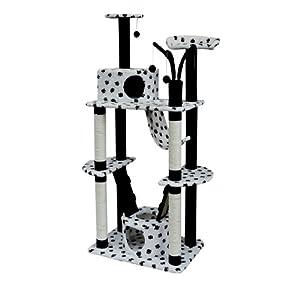 arbre a chat griffoir grattoir blanc pattes de chat noir. Black Bedroom Furniture Sets. Home Design Ideas