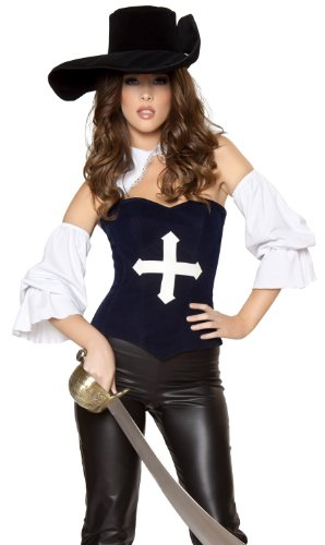 [Roma Sexy Three Musketeers Renaissance Musketeer Halloween Costume M/L] (Womens Three Musketeers Costumes)