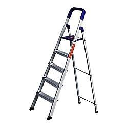 Glow Plast Folding Aluminium Ladder - Home Pro 5 Steps with 7 years warranty