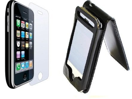 Black Leather Flip Skin Case Cover For Apple iPhone 3G 3GS + 6x Clear Screen Protectors