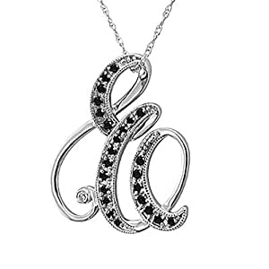 14k White Gold Alphabet Initial Letter E Black Diamond Pendant Necklace (0.15 Carat)