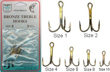 Dolphin Bronze Treble Hooks 6 Pk. - Size 1
