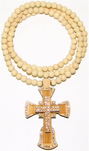 Cross Pendant Piece Necklace With Stones All Wood Maple