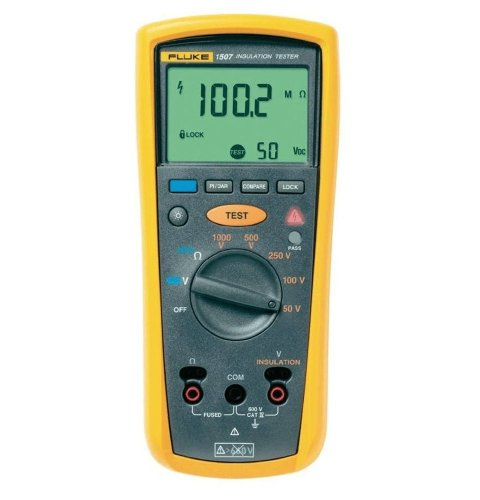Fluke 1507 Digital Megohmmeter, 50/100/250/500/1,000V Test Voltages, 10 Gigaohms Insulation Resistance, 20 Kilohms Low-Resistance, 600V Voltage Detection
