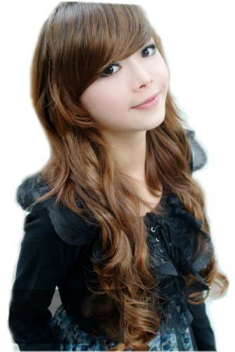 Multi-color Curly Synthetic Hair Clip-on Extension Wig (Model: Jf010317) (Black)