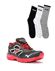 Elligator Black & Red Stylish Sport Shoes With Puma Socks For Men's