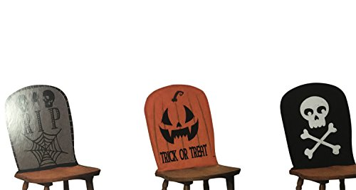 Halloween Decorations Indoor-Outdoor- Scary & Funny Decorative Chair Covers - Skull 'RIP, Pumpkins, Spiders Features, Set of 6