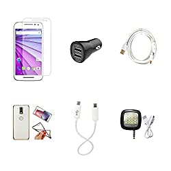 High Quality Combo of Moto G3 Temper Glass + Car Charger 2 USB + Fast Charging Cable + Attractive Back Cover (Transparent Back with Golden Border) + Android to Android Charging Cable