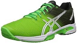 ASICS Men\'s Gel-Solution Speed 2 Tennis Shoe, Flash Green/White/Black, 15 M US
