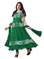 Prayosha Enterprise Sea Green Brasso Party Wear Anarkali Salwar Kameez