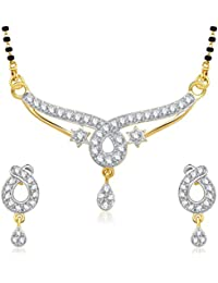 Amaal Mangalsutra Pendant Set With Earrings For Women Girls Jewellery Set Gold Plated In Cz American Diamond MSPT0163