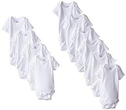 Gerber Unisex-Baby Newborn 10 Piece Onesies Bundle, White, 0-3 Months