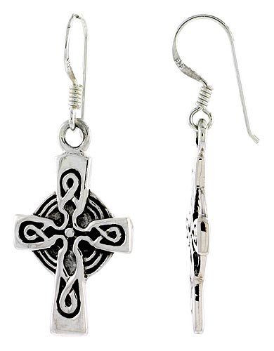 Sterling Silver High Cross Celtic Dangle Earrings Loop Design, 1 1/2 inch (38 mm) tall