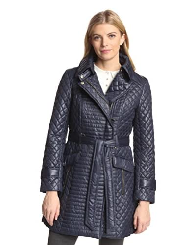 Via Spiga Women's Quilted Moto-Inspired Coat  [Navy]