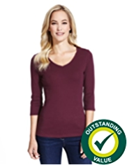 M&S Collection Pure Cotton V-Neck Top with StayNEW™