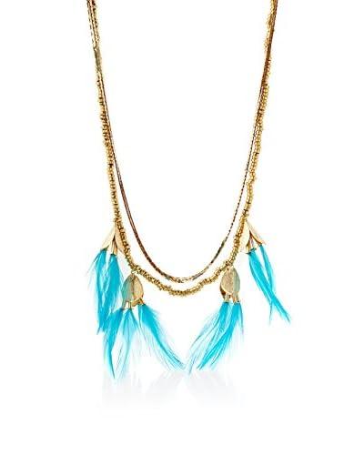 Serefina Aqua Dancing Feathers Statement Necklace